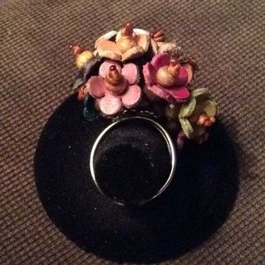 Leather And Bead Flower Ring